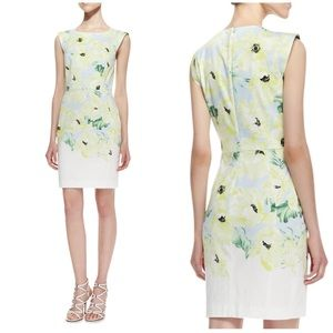 FRENCH CONNECTION FLORAL SHEATH MIDI DRESS